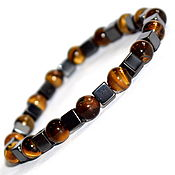 Украшения handmade. Livemaster - original item Men`s bracelet made of stones tiger`s eye, hematite. Handmade.
