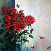 "Картины и панно handmade. Livemaster - original item Oil Painting on canvas ""A corner red roses"". Handmade."