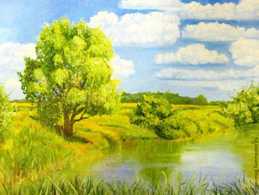 Пейзаж ручной работы. Ярмарка Мастеров - ручная работа. Купить Солнечный день на пруду. Handmade. Мятный, пейзаж маслом, природа