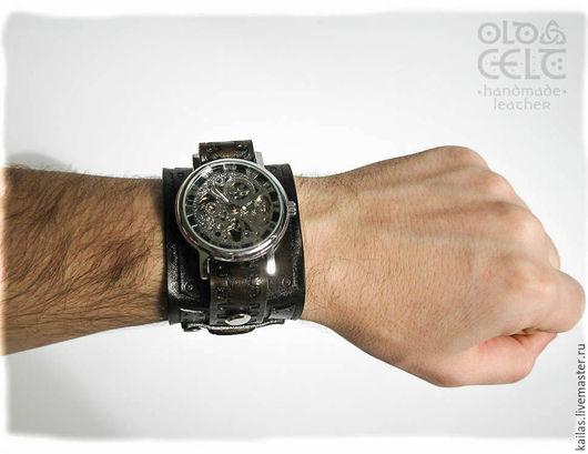 Часы ручной работы. Ярмарка Мастеров - ручная работа. Купить Кожаный браслет с часами с стиле стимпанк. Handmade. Коричневый, механика