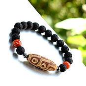 Украшения handmade. Livemaster - original item Men`s bracelet made of volcanic lava, carnelian and DZI Beads. Handmade.