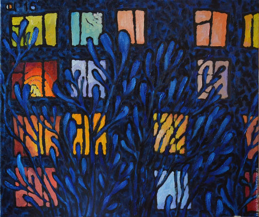 Город ручной работы. Ярмарка Мастеров - ручная работа. Купить Картина холст масло Зимние окошки (забронировано). Handmade.