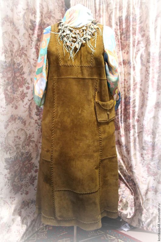 Платья ручной работы. Ярмарка Мастеров - ручная работа. Купить Сарафан- этно-стиль. Handmade. Хаки, пэчворк