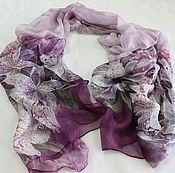 Ткани ручной работы. Ярмарка Мастеров - ручная работа Шёлковый шарф - палантин. Handmade.