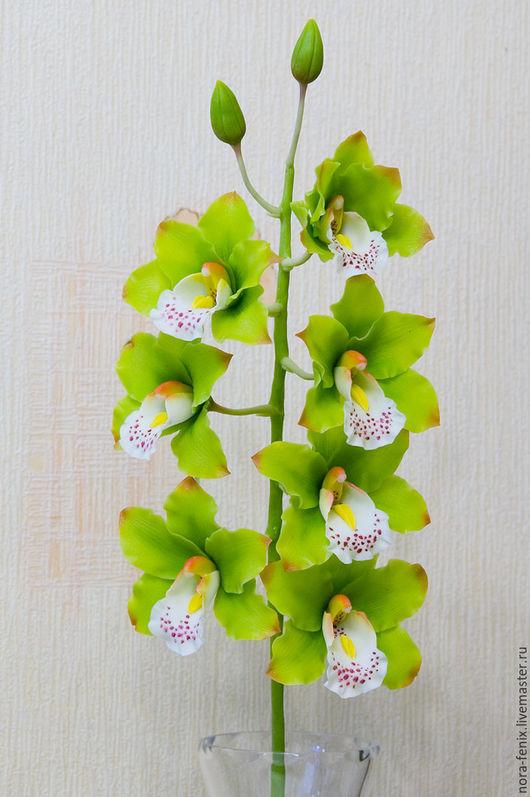 Цветы ручной работы. Ярмарка Мастеров - ручная работа. Купить Орхидея цимбидиум из полимерной глины. Handmade. Салатовый, реалистичные цветы