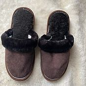 Обувь ручной работы handmade. Livemaster - original item Men`s suede sheepskin slippers brown. Handmade.