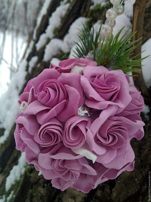"""Новый год 2017 ручной работы. Ярмарка Мастеров - ручная работа. Купить новогодний шар из цветов """"Розовые розы"""". Handmade."""