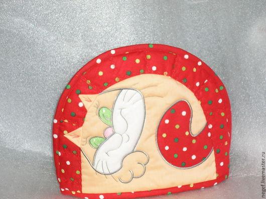 """Кухня ручной работы. Ярмарка Мастеров - ручная работа. Купить грелка """"котик в горошек"""". Handmade. Ярко-красный, кухонный интерьер"""