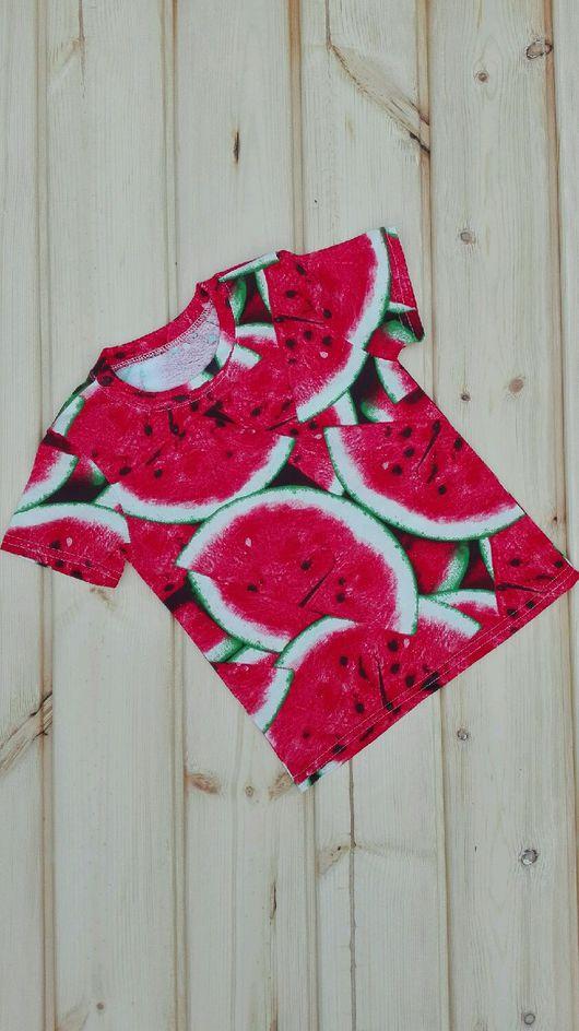 """Одежда унисекс ручной работы. Ярмарка Мастеров - ручная работа. Купить Футболка """"арбузы"""". Handmade. Яркие футболки, футболки для двоих"""