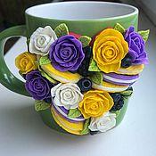 Кружки ручной работы. Ярмарка Мастеров - ручная работа Кружка с декором «Разноцвет». Handmade.