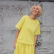 Одежда ручной работы. Ярмарка Мастеров - ручная работа Топ ЛИМОН-ЛАЙМ из лимонного джинса. Handmade.
