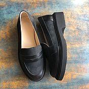Обувь ручной работы handmade. Livemaster - original item Loafers View black leather / black nubuck smooth sole. Handmade.