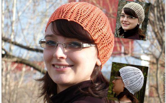 Вязаные крючком летние женские ажурные шапочки-береты. Пряжа - хлопок с вискозой. Пряжа с шелковистым эффектом.