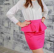 Skirts handmade. Livemaster - original item Skirt with peplum cotton pink. Handmade.
