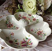 Винтажные тарелки ручной работы. Ярмарка Мастеров - ручная работа Менажница цветок. Handmade.