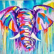 Картины и панно handmade. Livemaster - original item Interior painting Color elephant 50h50. Handmade.