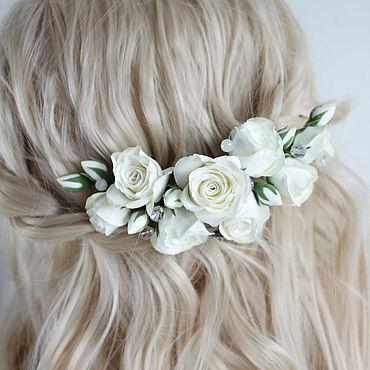 Свадебный салон ручной работы. Ярмарка Мастеров - ручная работа Заколка с белыми розами. Handmade.