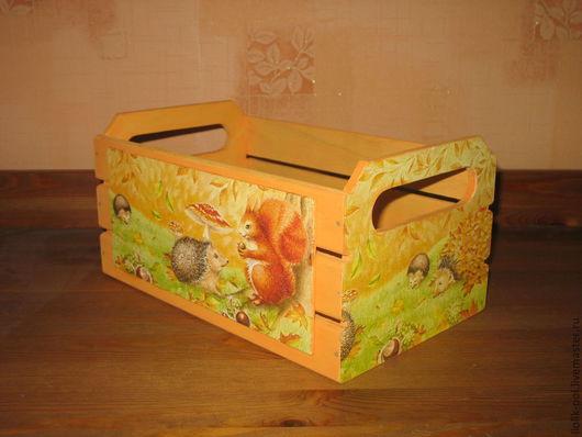 """Корзины, коробы ручной работы. Ярмарка Мастеров - ручная работа. Купить Короб-ящик """" Ежики"""" (большой). Handmade. Оранжевый"""