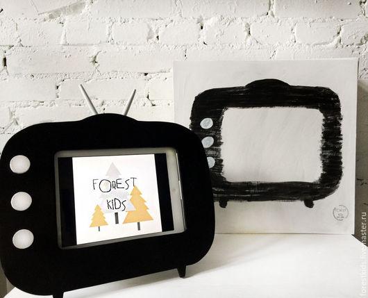 Детская ручной работы. Ярмарка Мастеров - ручная работа. Купить Полка Телевизор под планшет. Handmade. Чёрно-белый, для детей