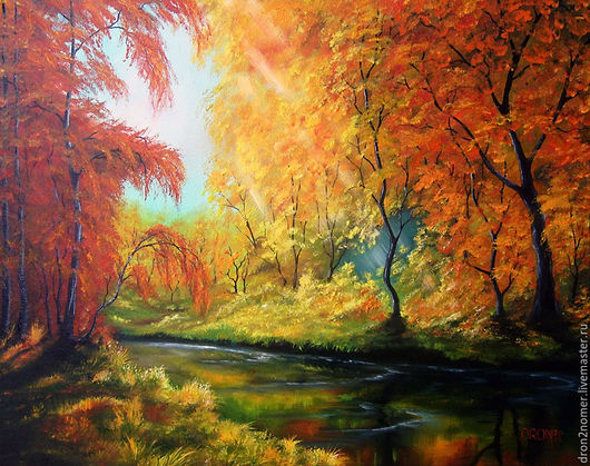 Пейзаж ручной работы. Ярмарка Мастеров - ручная работа. Купить Золотая осень. Handmade. Оранжевый, золотая осень, осенний пейзаж