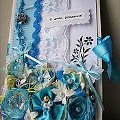 Открытки ручной работы. Ярмарка Мастеров - ручная работа Голубой атлас. Handmade.