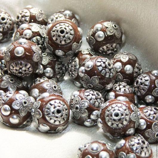 Для украшений ручной работы. Ярмарка Мастеров - ручная работа. Купить ДОПОЛНЕНИЕ коричневые с серебром бусины Индонезия. Handmade. Бусины