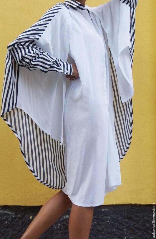 Стильная рубашка из штапельной вискозы. Свободный и элегантный стиль. Уникальный дизайн одежды. Полосатая рубашка  свободного кроя.