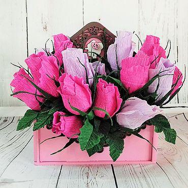 """Подарки к праздникам ручной работы. Ярмарка Мастеров - ручная работа Букет из конфет в коробке-конверте """"Для прекрасной дамы"""". Handmade."""