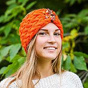 Аксессуары ручной работы. Ярмарка Мастеров - ручная работа Вязаная косами повязка тюрбан оранжевая осень шерстяная. Handmade.