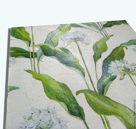 Картины цветов ручной работы. Ярмарка Мастеров - ручная работа. Купить Черемша. Handmade. Зеленый, белый, природа, декоративное панно