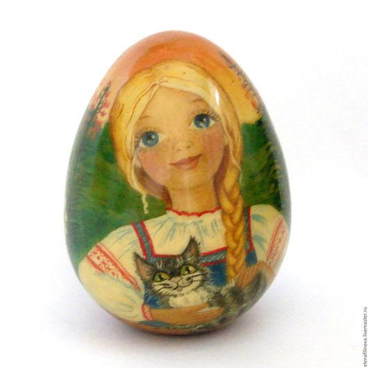 Пасхальное яйцо Аленушка, яйцо пасхальное, подарок к празднику, подарок на Пасху, пасхальный подарок,  пасхальное яйцо,  деревянное яйцо, пасхальные яйца, подарок на Рождество, подарки к праздникам.