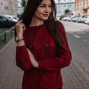 Одежда handmade. Livemaster - original item Cotton sweater in Bordeaux color. Handmade.