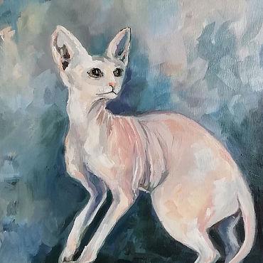 Картины и панно ручной работы. Ярмарка Мастеров - ручная работа Кошка Сфинкс картина маслом. Handmade.