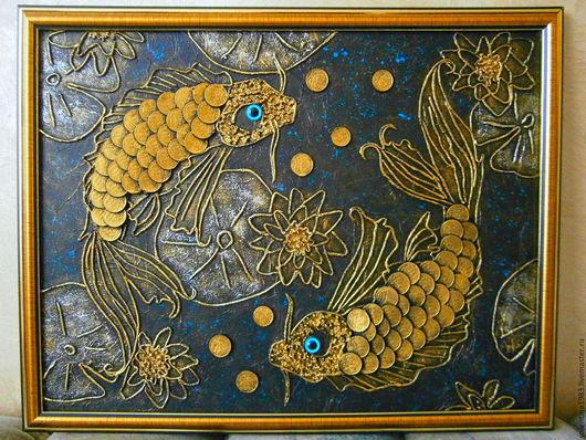 """Животные ручной работы. Ярмарка Мастеров - ручная работа. Купить Панно """"Богатый улов"""".. Handmade. Золотой, панно, золотые рыбки"""