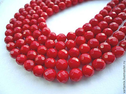 Для украшений ручной работы. Ярмарка Мастеров - ручная работа. Купить Коралл красный бусина с огранкой 6.5мм. Handmade.