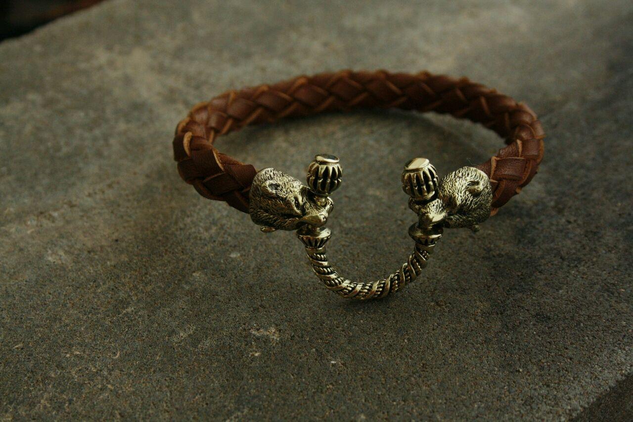 The genuine leather bracelet ,Bear, Bead bracelet, Volgograd,  Фото №1