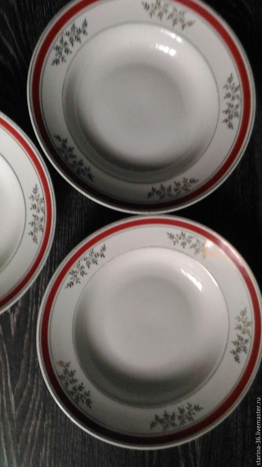 Винтажная посуда. Ярмарка Мастеров - ручная работа. Купить глубокая тарелка Рига. СССР. Handmade. Ярко-красный, фарфор