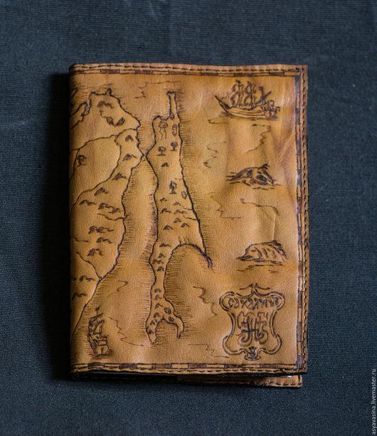 Обложки ручной работы. Ярмарка Мастеров - ручная работа. Купить Обложка на паспорт Карта Сахалина. Handmade. Рыжий, обложка