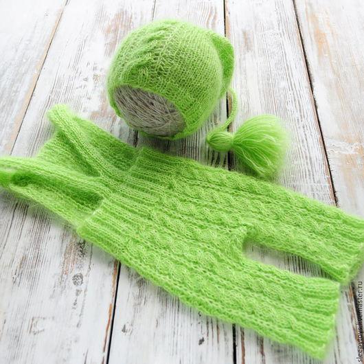 Для новорожденных, ручной работы. Ярмарка Мастеров - ручная работа. Купить Вязаные штанишки и шапочка для фотосессии новорожденных салатовый. Handmade.