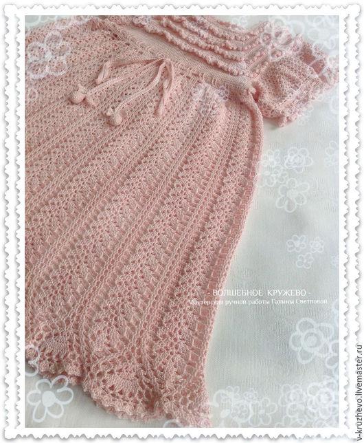 Одежда для девочек, ручной работы. Ярмарка Мастеров - ручная работа. Купить Вязаное крючком платье для девочки Розовый зефир из хлопка. Handmade.
