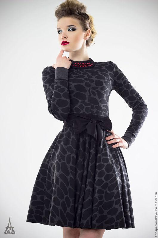 Платья ручной работы. Ярмарка Мастеров - ручная работа. Купить Платье из джерси+воротничок и пояс в подарок. Handmade. Серый, платье с рукавами