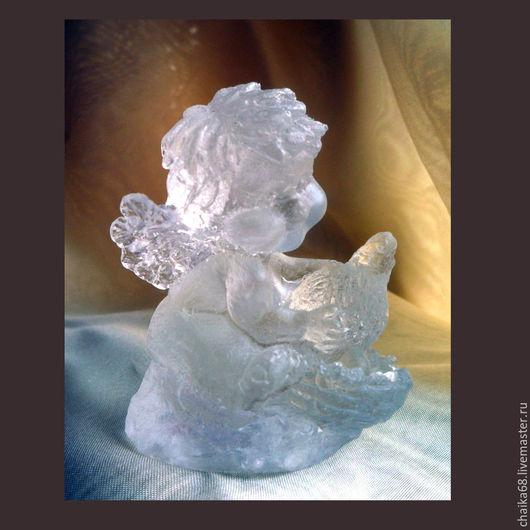"""Персональные подарки ручной работы. Ярмарка Мастеров - ручная работа. Купить """"Ангел с курочкой"""" из хрусталя. Handmade. Подарок, символ, комбинированный"""