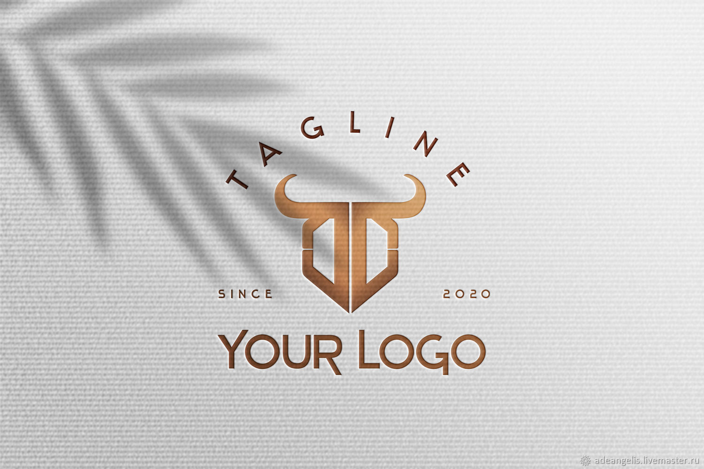 Готовый DD логотип со стилизованным изображением быка, Иллюстрации и рисунки, Пиза,  Фото №1