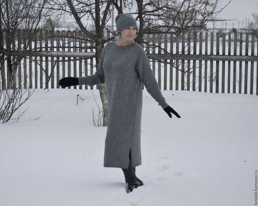 """Платья ручной работы. Ярмарка Мастеров - ручная работа. Купить Платье в стиле oversize """"Серый декабрь"""" (+ шапка). Handmade."""