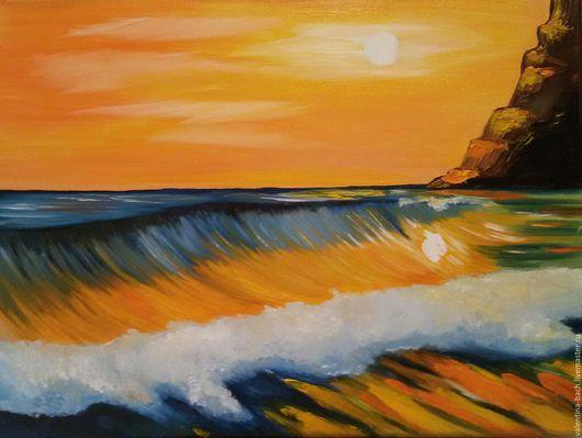 """Пейзаж ручной работы. Ярмарка Мастеров - ручная работа. Купить """"Закат"""". Handmade. Комбинированный, закат солнца, картина в подарок"""