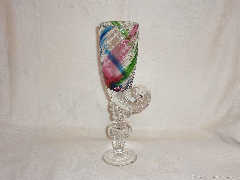 VASE GLASS CUP TOASTMASTER MUSCAT HORN. crystal, thread. LSHS Ostroumov, Vintage interior, St. Petersburg,  Фото №1