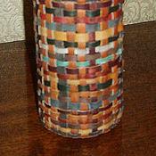 """Посуда ручной работы. Ярмарка Мастеров - ручная работа Кожаная подарочная бутылка-ваза  """"Плетенка"""". Handmade."""