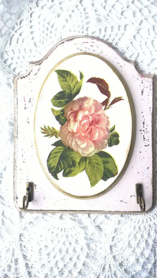"""Прихожая ручной работы. Ярмарка Мастеров - ручная работа. Купить Ключница декупаж Роза шебби"""". Handmade. Розовый, вешалка декупаж"""