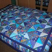 Для дома и интерьера ручной работы. Ярмарка Мастеров - ручная работа Лоскутное покрывало Голубая синева. Handmade.