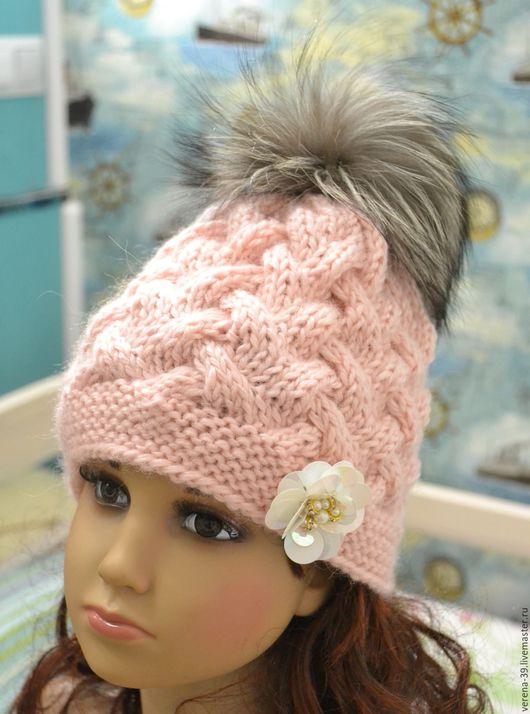 Шарфы и шарфики ручной работы. Ярмарка Мастеров - ручная работа. Купить Зимняя вязаная шапка для девочки. Handmade. Розовый, украшение